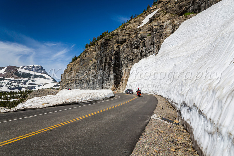 Going to the Sun Road with snow near Logan Pass in Glacier National Park, Montana, USA.