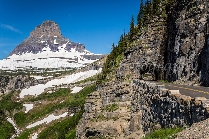 Going to the Sun Road with Clements Mountain and tunnel near Logan Pass in Glacier National Park, Montana, USA.