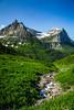 Mountain scenic near Logan Pass in Glacier National Park, Montana, USA.