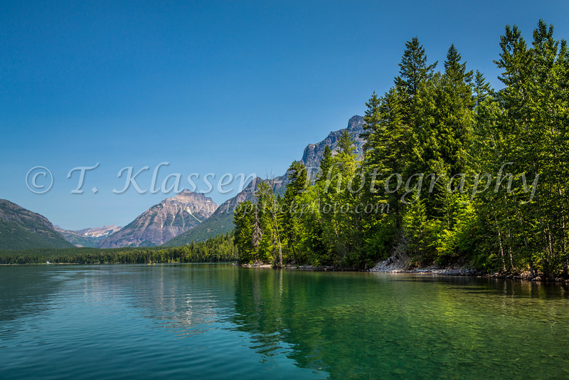 A Lake McDonald scenic at Lake McDonald Lodge, Glacier National Park, Montana, USA.