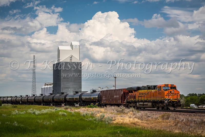 A farm grain elevator and freight train in Brockton, Montana, USA.
