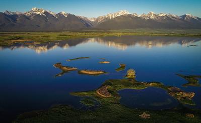 "Aerial view of ""Wild Bird Islands"" in Ninepipes Reservoir"