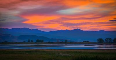 Sunset over Ninepipes Reservoir