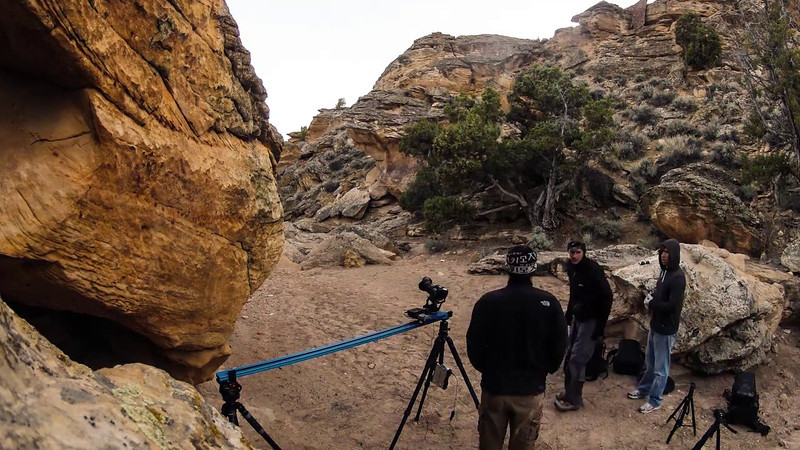 A GoPro timelapse of the 5DIII on a dynamic perception 6' dolly running at sunset in Pictograph (Petroglyph) Canyon. One photo every 10 seconds, played back at 24fps.