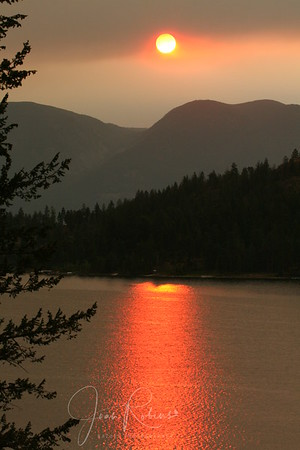 August 4th. Forest fires are burning and sending thick smoke over the lake. Flathead Lake, Montana