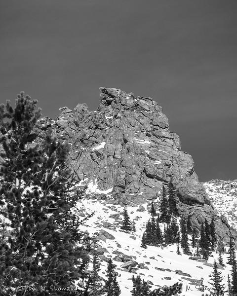 A rock outcrop along the Prairieview Mountain ridge line.