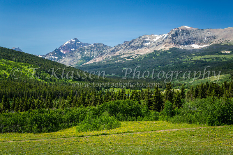 Mountain scenic of Glacier National Park as viewed from the east in Montana, USA.