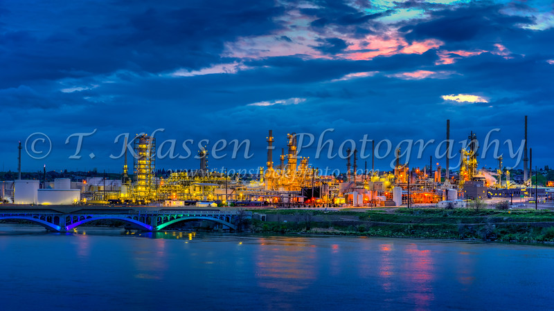 The Calumet Refinery on the Missouri River in Great Falls, Montana, USA, America.