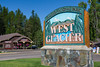 The West Glacier sign near Glacier National Park, Montana, USA.