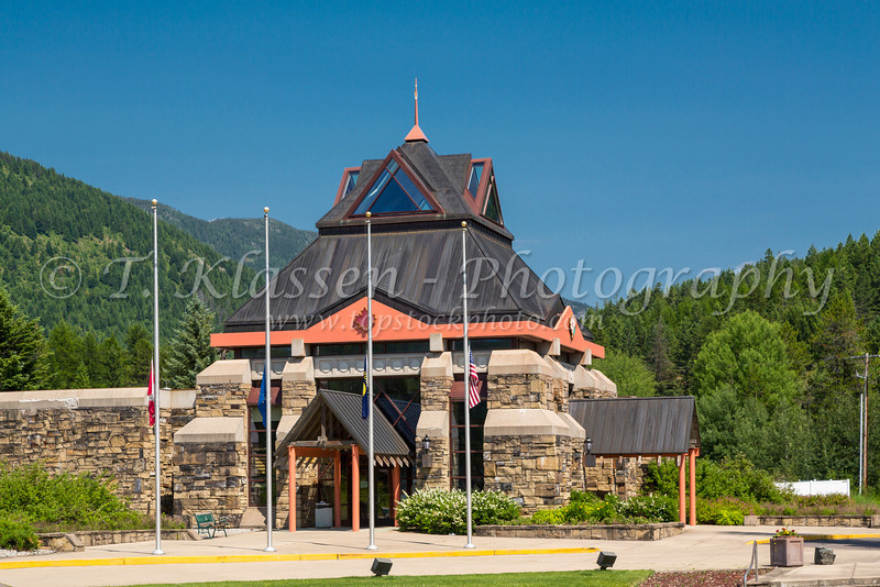 The Alberta Tourism welcome building at West Glacier, Montana, USA.