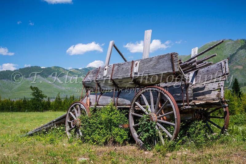An old rustic wagon near West Glacier, Montana, USA.
