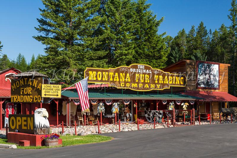 The Montana Fur Trading Company storefront at Martin City, Montana, USA.