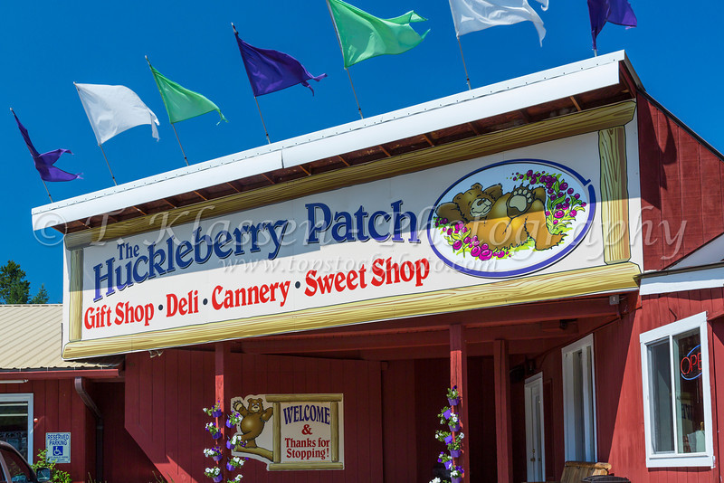 The Hucklberry Patch sign in Hungry Horse, Montana, USA.