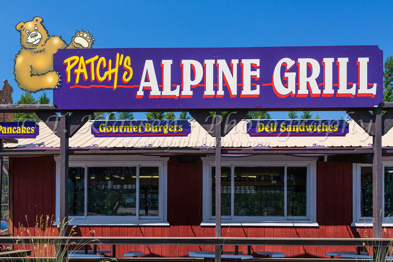 Patchy's Alpine Grill storefront in Hungry Horse, Montana, USA.