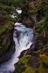 Avalance Creek cascades down moss-covered boulders on the western edge of Glacier National Park in Montana.  Photo by Kyle Spradley | www.kspradleyphoto.com