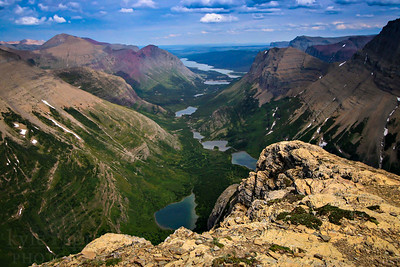 Lakes in the Many Glacier area of Glacier National Park are viewed from atop Swiftcurrent Mountain.  Photo by Kyle Spradley | www.kspradleyphoto.com