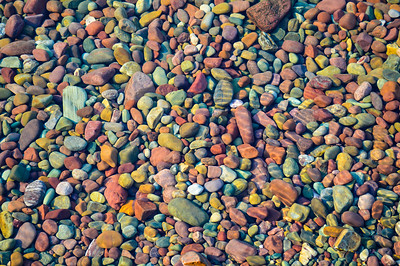 Colorful rocks in Lake McDonald
