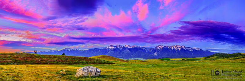 """""""Mission Paradise,"""" Mission Mountains Alpenglow, Rocky Mountains, Montana"""