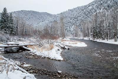 Winter descends on Rock Creek, north of the Rock Creek Recreation Area.