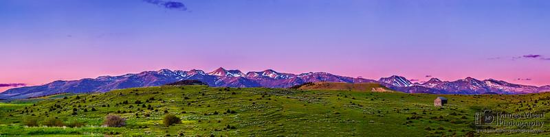 """Crazy Glow,"" Crazy Mountians Alpenglow at Sunset, Rocky Mountains, Montana"