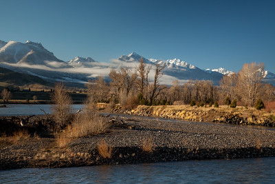 Yellowstone River and the Absaroka Mountains, early spring morning