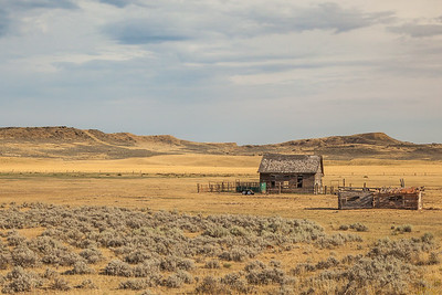 Old cabin at Bowler Flats, on the route to the Pryor Mountains