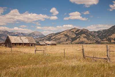 Old homestead in Gallatin Valley backed by the Bridger Mountains
