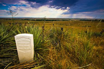 A tombstone marks the place where a Union soldier fell during the Battle of Little Bighorn. The memorial is one of many at the Battle of Little Bighorn National Monument in Montana.  Photo by Kyle Spradley | www.kspradleyphoto.com