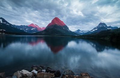 Sunrise Spot Color, Many Glacier, Glacier National Park