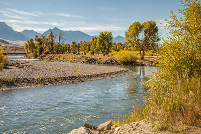 Yellowstone River just south of Carter's Bridge, with Absaroka Range in the distance.