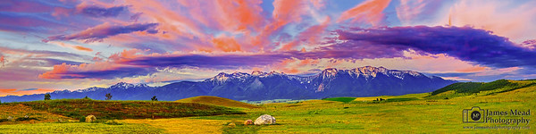 """Pink Explosion,"" Sunset over the Mission Mountians, Rocky Mountains, Montana"