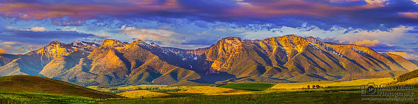 """Golden Mission,"" Mission Mountians Golden Hour at Sunset, Rocky Mountains, Montana"