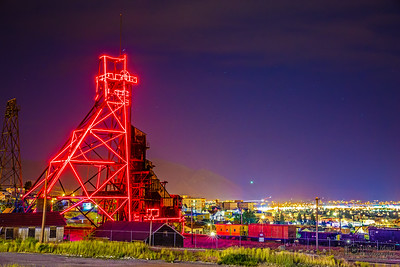 """""""The Red Tower,"""" Butte Mining Headframes at Night; Butte, Montana"""