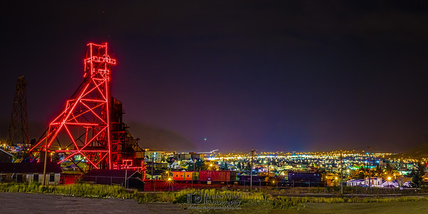 """Neon Night,"" Butte Mining Headframe Skyline, Butte, Montana"