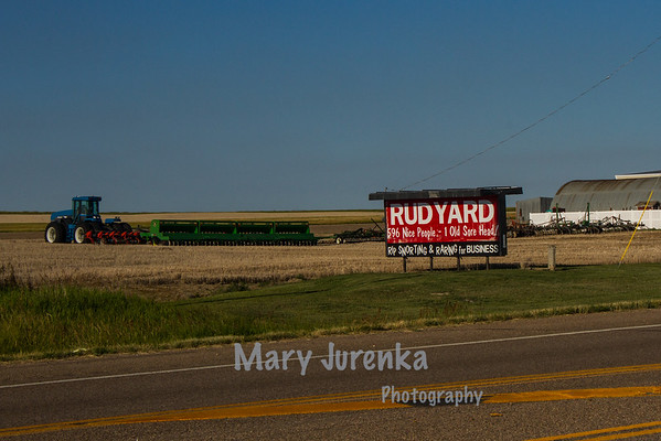 This is the sign that greets travelers on US Route 2 as they approach Rudyard, Montana.