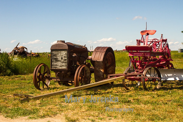antique farm machinery at Depot Museum in Rudyard, Montana