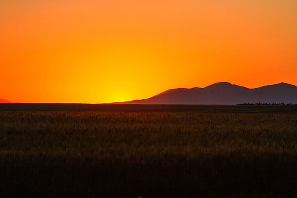 Sweetgrass Hills sunset view from Rudyard, Montana