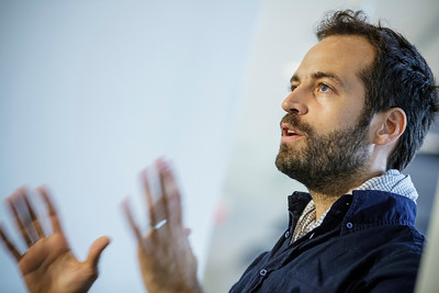 2012, CART, Peak Performances  Choreographer Benjamin Millepied speaking to theater and dance students during a talk moderated by Neil Baldwin.