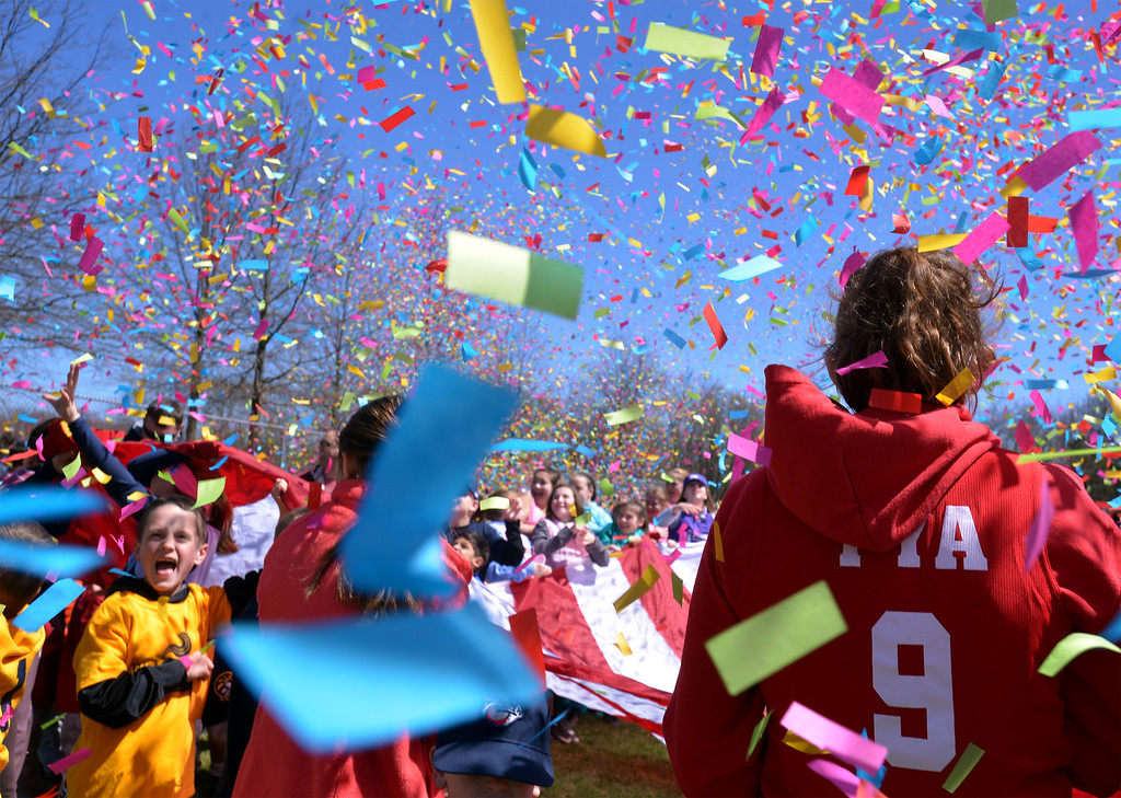 . (Bob Raines--Digital First Media)___ Confetti fills the air as the Hatfield-Towamencin Opening Day comes to a close April 8, 2017.