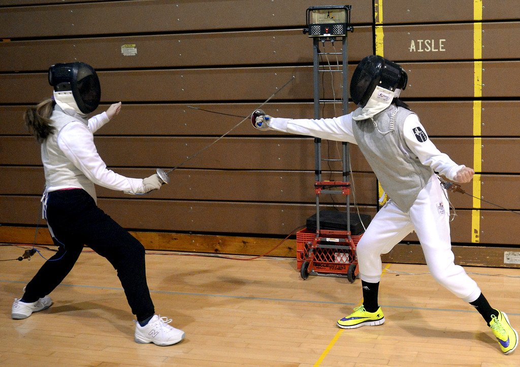 . Members of the Bucks County Academy of Fencing fight with sensor-tipped foils at the International Spring Festival April 22, 2017.  (Bob Raines/Digital First Media)
