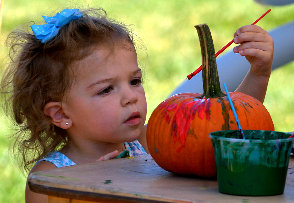 . Mia Wonn paints a pumpkin at the Whitpain Community Festival Sept. 23, 2017. / Bob Raines--Digital First Media