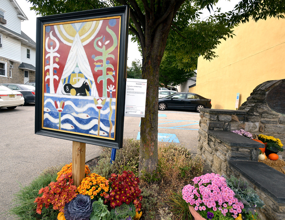 """. Bob Raines--Digital First Media\""""Painting No. 4 (A Black Horse)\"""" by Marsden Hartley stands in the entrance to the municipal parking lot along Easton Rd., Glenside Oct. 5, 2017."""