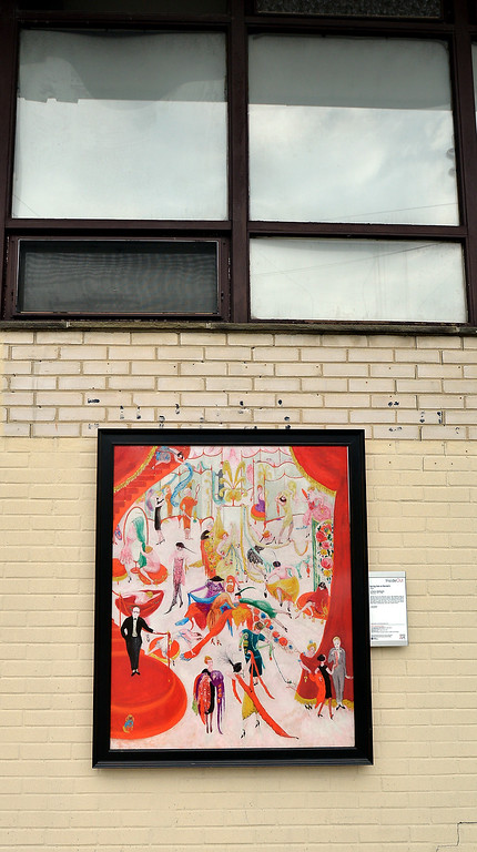 """. Bob Raines--Digital First MediaFlorine Stettheimer\'s \""""Spring Sale at Bendels\"""" is mounted on a side wall near the corner of Glenside Ave. and Bickley Rd., Glenside Oct. 5, 2017."""