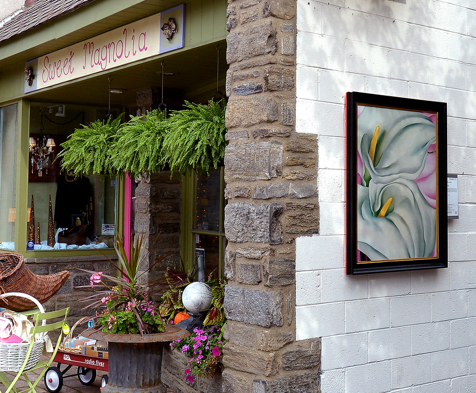 """. Bob Raines--Digital First MediaMounted on the side wall of Sweet Magnolia in Georgia O\'Keefe\'s \""""Two Calla Lilies on Pink\"""" along Easton Rd. Glenside Oct. 5, 2017."""