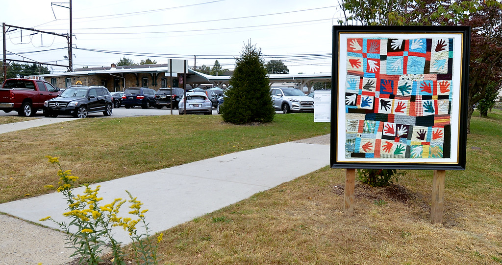 """. Bob Raines--Digital First MediaSarah Mary Taylor\'s \""""Hand Quilt\"""" can be seen at the Glenside SEPTA station at Easton Rd. and Glenside Ave. Oct. 5, 2017."""