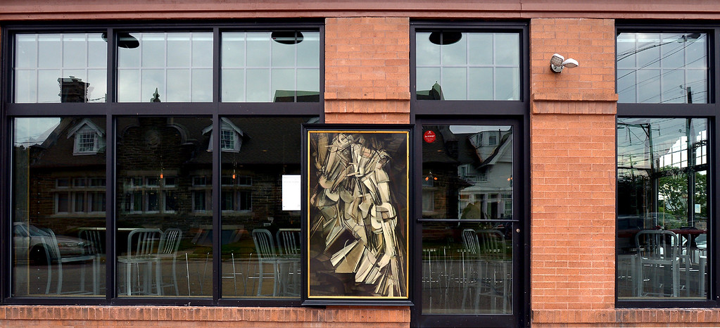 """. Bob Raines--Digital First MediaMarcel Duchamp\'s \""""Nude Descending the Staircase\"""" is mounted on the wall of  Roberts Block, Roberts Ave., Glenside."""