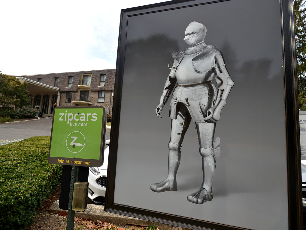 """. Bob Raines--Digital First Media\""""Field Armor\"""" stands by the entrance to Oak Summit Apartments Easton Rd., Glenside Oct. 5, 2017."""