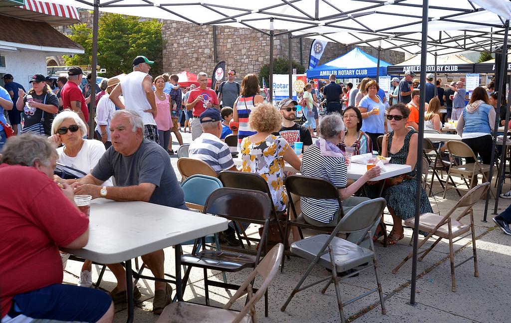 . Ambler Oktoberfest visitors enjoy food, drink and conversation under a large canopy set up next to the Ambler Theater Oct. 7, 2017. / Bob Raines--Digital First Media
