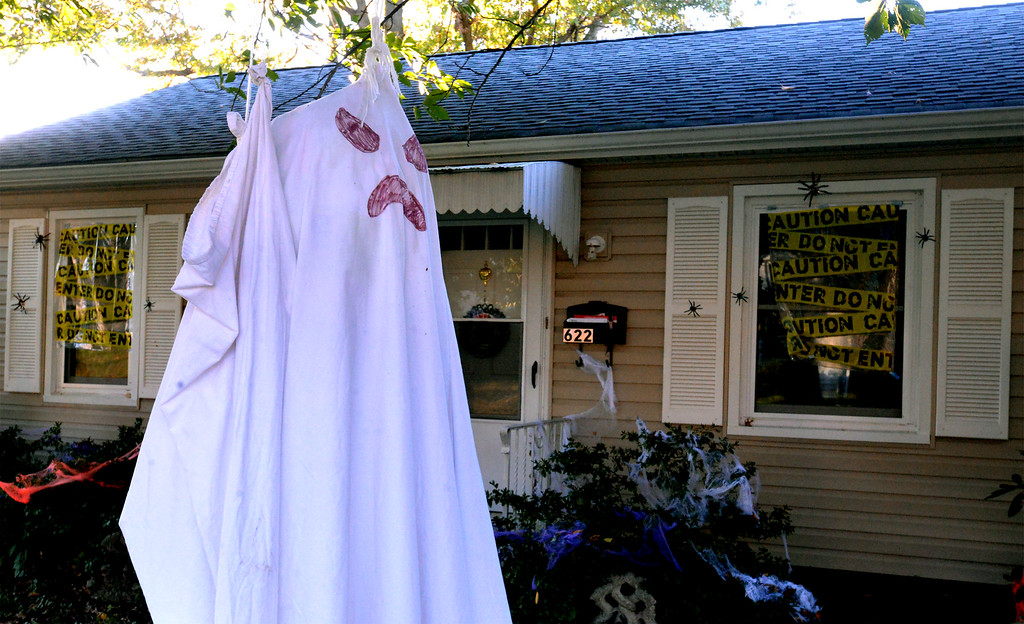 . A ghost dangles from a tree in front of a house on Susquehanna Ave., Lansdale Oct 27, 2017. (Bob Raines--Digital First Media)