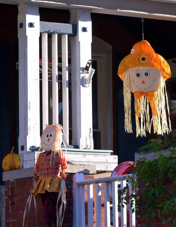 . Smiling scarecrows greet visitors to this house on Perkiomen Ave., Lansdale Oct 27, 2017. (Bob Raines--Digital First Media)